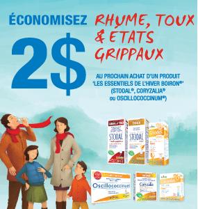coupon 2$ sur la gamme rhume et grippe - Boiron