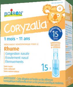 Coryzalia est un médicament homéopathique pour le rhume et ses symptômes tels que : la congestion nasale, l'écoulement nasal, les rhinites aiguës, à répétition, infectieuses ou allergiques chez les enfants dès l'âge d'1 mois.