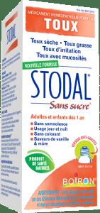 Stodal® sans sucre est un sirop homéopathique pour pour la toux sèche ou la toux grasse, la toux d'irritation ou avec mucosités.